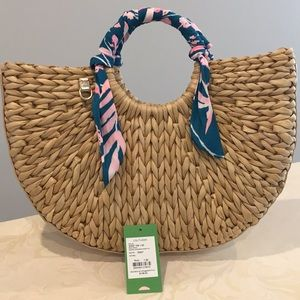 Lily Pulitzer monkey business straw tote
